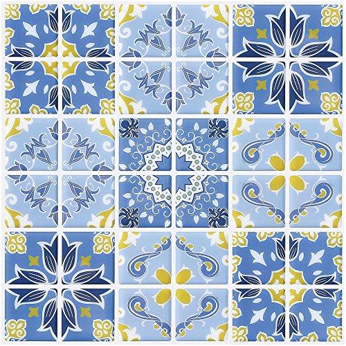 Ecoart Decorativos Adhesivos para Azulejos Pegatina de Pared, Azulejos de Gel, Diseño de Azulejo Vintage, Efecto 3D, Cenefa Autoadhesivo, para Baño y Cocina(Azul y Amarillo)