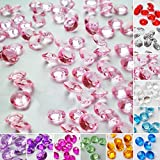 TtS 1000pcs 6MM Scatter Diamonds Table Crystals Acrylic Confetti Wedding Party (Light pink)