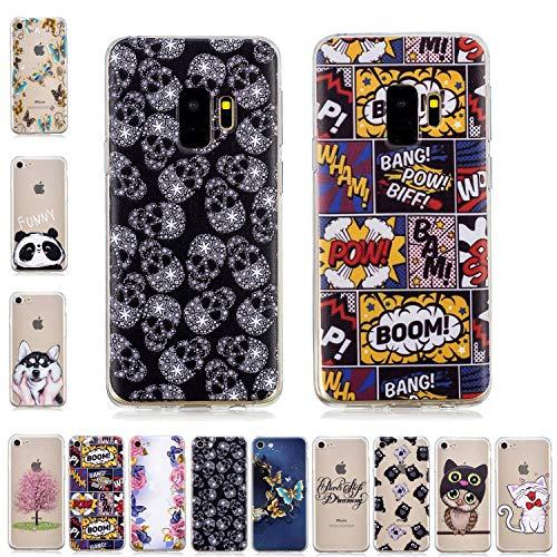 Samsung Galaxy S9 Plus Hülle Case Transparent mit Muster Schädel Skelett Comic Ultra Dünn Durchsichtig Silikon Gummi Bumper Etui Schutzhülle Tasche Folie Handyhülle ()