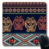 Luancrop Mousepads per Computer Sciarpa Modello Rosso Gufi da Notte Zingaro Bohémien Piumino Peruviano Blu Aborigeni Aztechi Uccelli Bloom Nero Mouse da Gioco oblungo Antiscivolo
