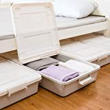 Shozafia Lot de 3 Grands bacs de Rangement sous Le lit Roulant avec roulettes - Boîte coulissante en Plastique sous Le lit av