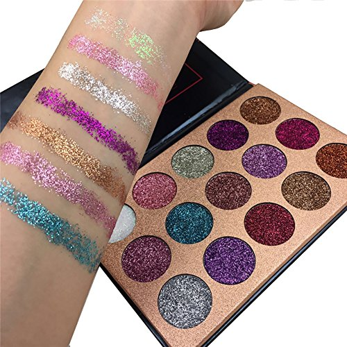 ROPALIA 15 Colors Eyeshadow Palette Glitter Pigment Textured Eye Shadow Beauty Makeup