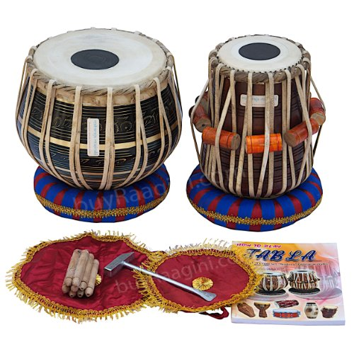 maharaja-black-painted-tabla-drum-set-brass-bayan-finest-dayan-with-book-hammer-cushions-and-cover-p