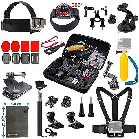 Vanwalk Kit de Accesorios para SJcam sj4000 sj5000 WiFi Cámara de Acción y GoPro Hero 5 4 3+ 3 2 1, Xiaomi Yi, DBPOWER - (19 en 1)