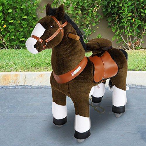 """PonyCycle®Shop ORIGINAL """" Amadeus """" Pferd hell braun,Pony auf Rollen fahrendes Schaukelpferd und Kuscheltier für Ihr Kind Klein N3152"""