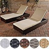 CLP 2x Poly-Rattan Sonnenliege / Gartenliege + Beistell-Tisch ca. 50 x 45 cm, ALU Gestell, Auflagen 6 cm dick Braun Meliert