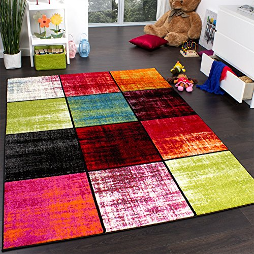 tapis-chambre-denfant-carreaux-multicolore-rose-vert-anthracite-orange-mouchete-dimension80x150-cm