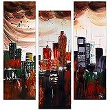 Arte dal Mondo AY024TX1 Ciudad abstracta Pintura moderno realizada a mano y montada sobre bastidor grueso