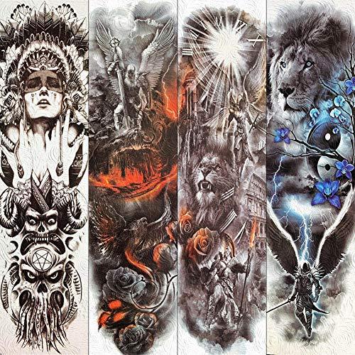 Gott Kostüm Feuer - Tattoo Aufkleber Wasserfest Voller Arm Bein Body Art Tattoo Aufkleber Feuer Phoenix Gott Worrior Tattoos Für Männer Frauen Fake Tattoo Papier Lion Aufkleber