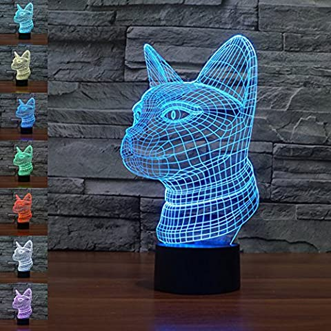 3D Illusion Lamp jawell Night Light Cat 7 Changing Colors Touch USB Table Nice Gift Toys Decorations