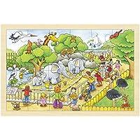 Goki - 2041635 - Puzzle en Bois À Encastrement - Visite De Zoo - 24 Pièces