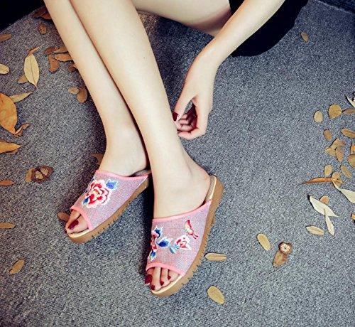 DESY Peony ricamato scarpe, suola tendine, stile etnico, femminile caduta di vibrazione, modo, comodo, sandali Pink