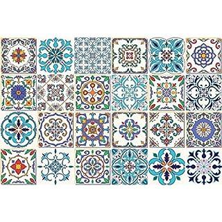 Ambiance-Live 24Aufkleber Fliesen   Sticker Selbstklebend Fliesen-Mosaik Fliesen Wandtattoo Badezimmer und Küche   Fliesen Kleber-Patchwork-10x 10cm-24-teilig