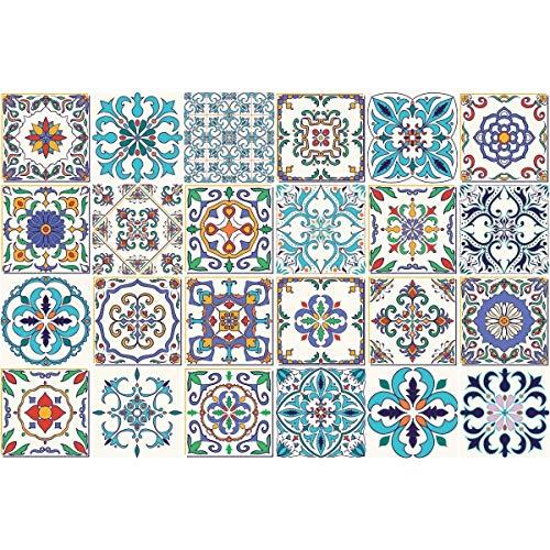 Ambiance-Live 24Aufkleber Fliesen | Sticker Selbstklebend Fliesen-Mosaik Fliesen Wandtattoo Badezimmer und Küche | Fliesen Kleber-Patchwork-10x 10cm-24-teilig (Badezimmer Fliesen Mosaik)
