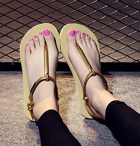 pengweiSommer Freizeit rutschfeste flache Boden-Frauen Wort Hausschuhe r?mische Sandalen Zehen Hausschuhe 1