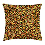 ERCGY Abstract Throw Pillow Cushion Cover, Spiral Round Colorful Disc Shaped Geometric Forms Childish Hippie Style Bubbles, Decorative Square Accent Pillow Case, 18 X 18 inches, Multicolor