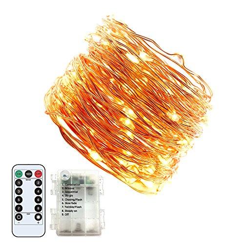 Jadelotus Neueste Lichterkette 15m warmweiß String Lights Batterie betrieben Wasserdicht 8 Modi 150 LED mit Fernbedienung für Weihnachten Party Garten Camping Feiern Schlafzimmer