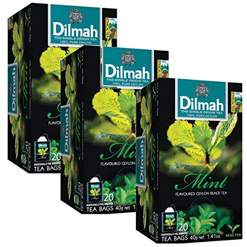 Dilmah Mint Flavored Ceylon Black Tea X 3 Packs - 60 Tea Bags - 40g (1.41 oz) - Pure Sri Lanka Ceylon Tea Box Real Tea