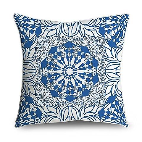 fabricmcc Ikat Damast Muster–Kobalt Blau und Weiß Quadratisch Accent dekorativer Überwurf-Kissenbezug 18x (Stripe Accent Pillow)