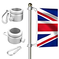 willkey 2X Flagpole Mounting Rings 360 Degree Rotating Heavy Duty Aluminum Alloy Spinning Flag Pole Kit with Carabiner for 0.75-1.02Inch Dia Flag Accessories
