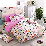 DACHUI Bed sheets - Coral Fleece 1800 beds fade, stain resistant - Hypoallergenic - 4 units (2) - P Queen Bed Skirt Cartoon