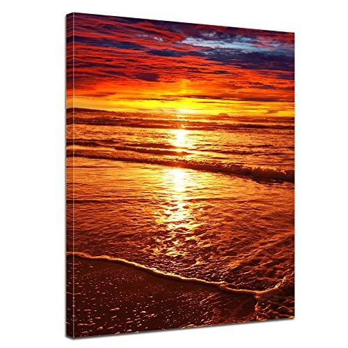 Keilrahmenbild - Sonnenuntergang - Bild auf Leinwand - 90 x 120 cm - Leinwandbilder - Bilder als Leinwanddruck - Urlaub, Sonne & Meer - Landschaft - prächtiger Sonnenuntergang über dem Meer