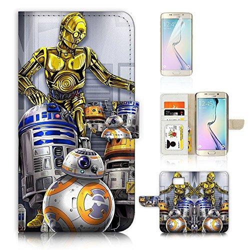 UKA31047 Starwars R2D2 BB8 C-3PO Flip Wallet Case Cover & Displayschutzfolie