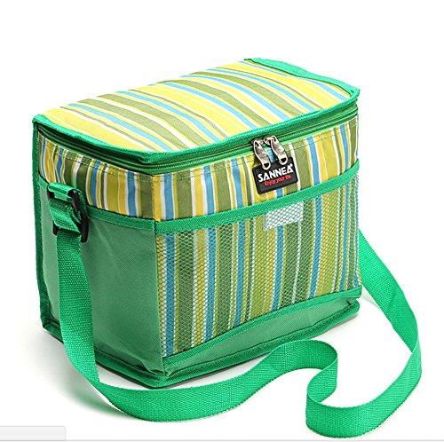 SANNE Insulation Lunch Bag - Neue Double-Layer-Umweltschutz Isolierung Kälte Langlebige Erhaltung 10.5L Rhythm Stripes Lunch Bag Tragbare Isolierung Paket (Gelb)