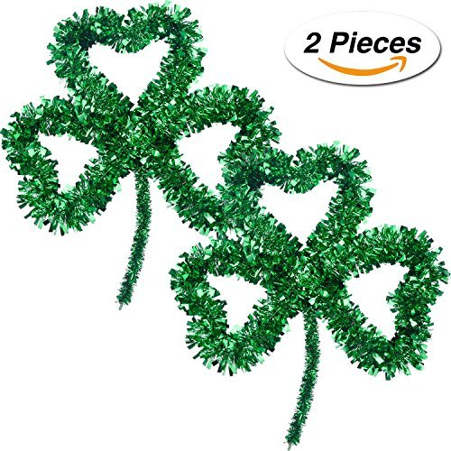Jovitec 2 Packung Irish St. Patrick Tag Lucky Green Lametta Shamrock Wanddekoration für Party Supply, 13 x 12 Zoll (Supplies Shamrock-party)