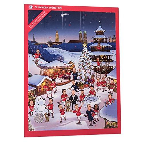 FC Bayern München Comic XXL Adventskalender gefüllt mit Autogrammkarten der FCB Stars und Vollmilch-Schokoladen Täfelchen (Baby Schokolade Schuhe)
