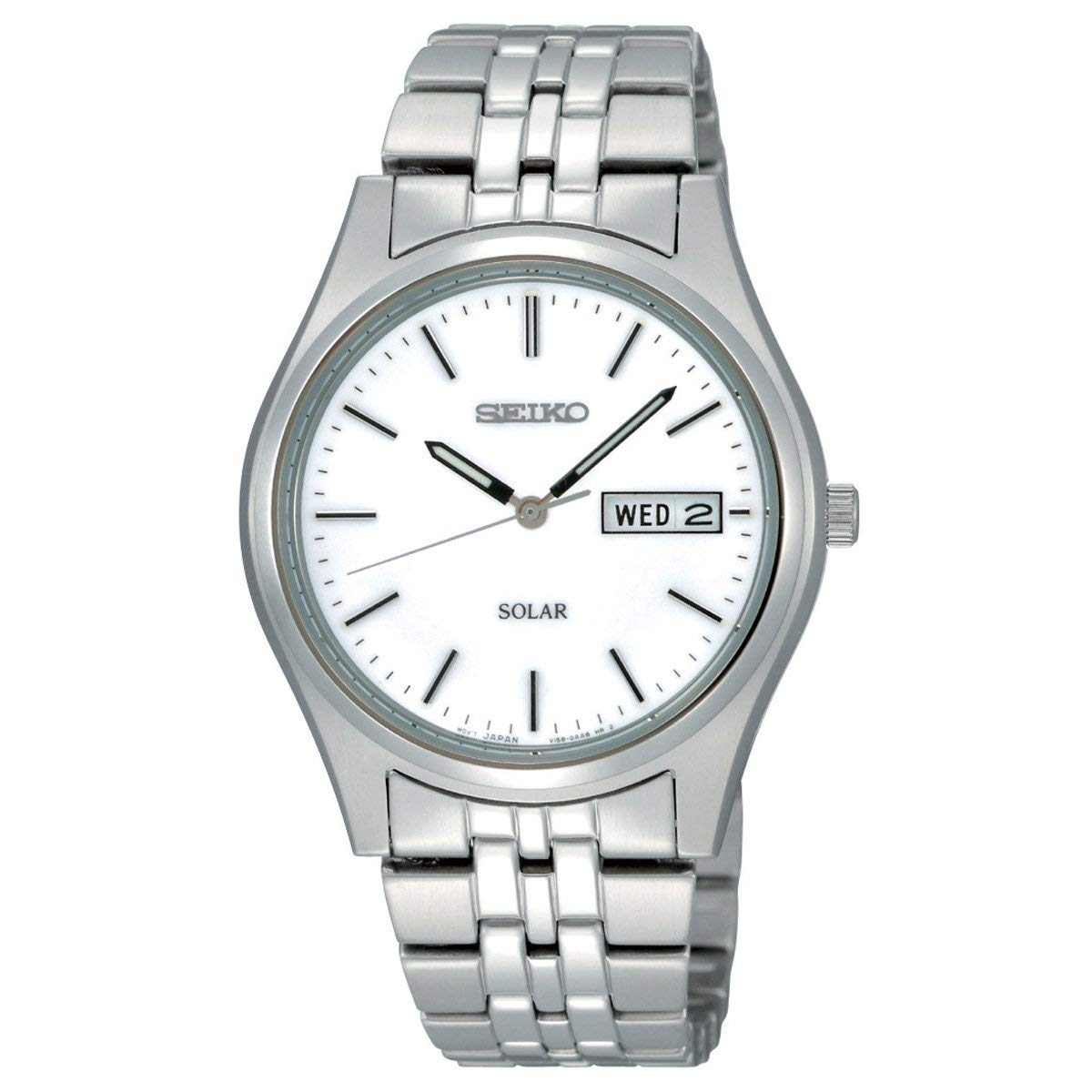 Seiko Men's Analog Solar Powered Watch with Stainless Steel Strap SNE031P1