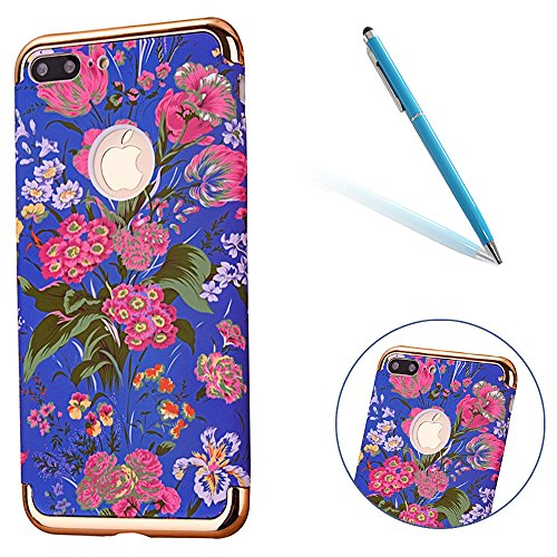 "iPhone 7Plus Handyhülle, Glitzer Leuchtend Design CLTPY Elegant Malerei Muster iPhone 7Plus Hartcase Dünne Hybrid Glanz Überzug Bumper 3-pieces Schale Etui für 5.5"" Apple iPhone 7Plus (Nicht iPhone 7) Pinke Blume"