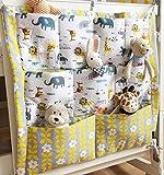 HENGSONG Kinderzimmer Mehrschichtige Beutel Organizer Baby-Bett Krippe Windeln Spielzeug Hängender Beutel Aufbewahrung Tasche 55*60CM (Gelb+Grau)