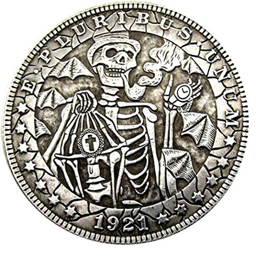 Bespoke Souvenirs, seltenes Antike USA USA 1921 Jahr Morgan Dollar Totenkopf Zombie Skelett Großartige Silberfarbene Münze -