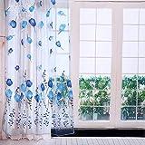 Tulle Vorhänge, gestreifte Voile Vorhänge Tab Top Fenster Vorhänge 39,4 * 78,7 Zoll für Wohnzimmer, Schlafzimmer(Blue)