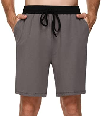 Doaraha Mens Pyjama Bottoms Cotton Shorts with Elasticated Waist Soft Comfortable Lounge Shorts Mens Pyjamas Nightwear Loungewear PJs Pyjamas Bottoms Casual Jogging Pants