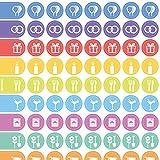 3 Stck. Organizer-Aufkleber für Wochenplaner, Wandplaner, Planer und Notizbücher mit Icons für jeden Anlass (Ereignisse u. Haushalt)
