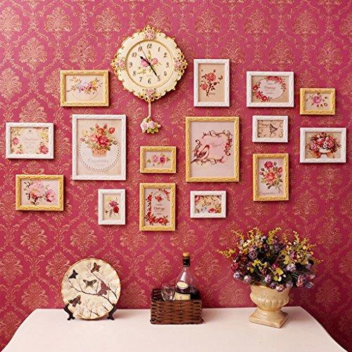 Galleria fotografica ASL Moderna Semplicità Carta da solido legno della struttura della parete della camera vivere creativo orologi Combinazione parete irregolare intagliato qualità ( Colore : A )