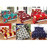 Star Bazaar Combo Of Glace Cotton Double Bedsheet Set Of 6– Double Bed Size, Multicolour