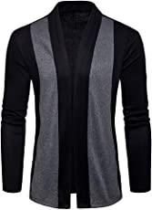 Moserian Men's Spring Casual Patchwork Cardigan Knit Knitwear Thin Coat Sweater Top Coat Jacket