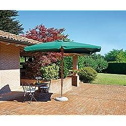 PEGANE Parasol centré rectangulaire 3 x 2m en Bois de Teck avec Toile en Polyester 230g Vert - H Max avec Base 2.76m