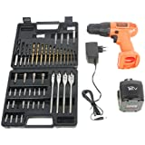 BLACK+DECKER CD121K50 12V 10mm Ni-Cd Cordless Drill/Driver with Keyless Chuck and 50 Accessories Kitbox (CD121K50-IN)