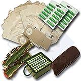 20 Staubsaugerbeutel + Filterset + Rundbürsten geeignet für Vorwerk VK 130 VK131 VK131 SC mit EB 350 oder EB 351