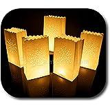 10 St/ück Papier Lichtt/üten Lichtert/üten Herzen f/ür Teelichter Kerzen Laternen wei/ß Kerzenhalter Deko Tischdeko Kerzent/üten Hochzeit