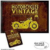 Set: 1 Fußmatte Türmatte (60x40 cm) + 1 Mauspad (23x19 cm) - Motorradsport, Vintage Motorcycles Service and Repair