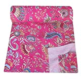 Kiara Indien Fait à la Main Coton Couvre-Lits réversible Kantha Paisley Motif imprimé Floral Couvre-lit & Coverlets Point de Couvre-lit Twin Taille/Taille Queen, Coton, Barbie Pink, Jumeau