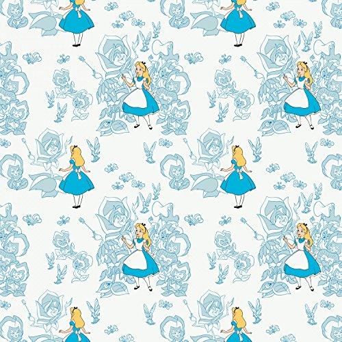 Tissu Alice au pays des merveilles–Alice au Pays des Merveilles roses Bleu–Cam210–par 0.5metre–par Camelot–100% coton