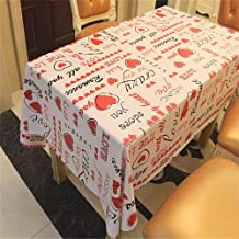TreasureTrade Romantic Love Heart Theme Nonwovens Backed PVC Tablecloth Red Table Cover Wipe Clean Waterproof Oilproof Mildewproof Skidproof Stain resistant. (137x137cm)