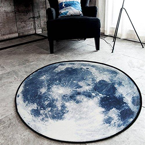 Felpudos Huihong,nórdicos Suede redondeado Salón Dormitorio Alfombra,azul claro