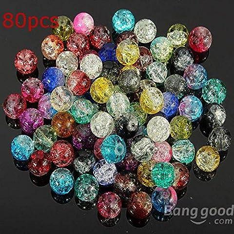 [Envoi Gratuit] 80Pcs 8mm couleur mélangée de Crack cristal Perles Spacer lâche // 80Pcs 8mm Crystal Crack Glass Loose Spacer Beads Mixed Color